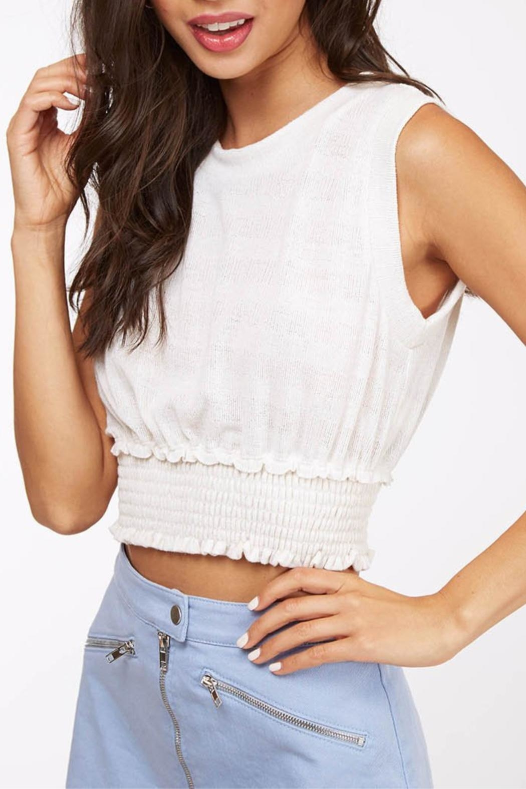Peach Love California Cropped Basic Knit - Front Full Image