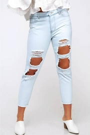 Peach Love California Destroyed Mom Jean - Front full body