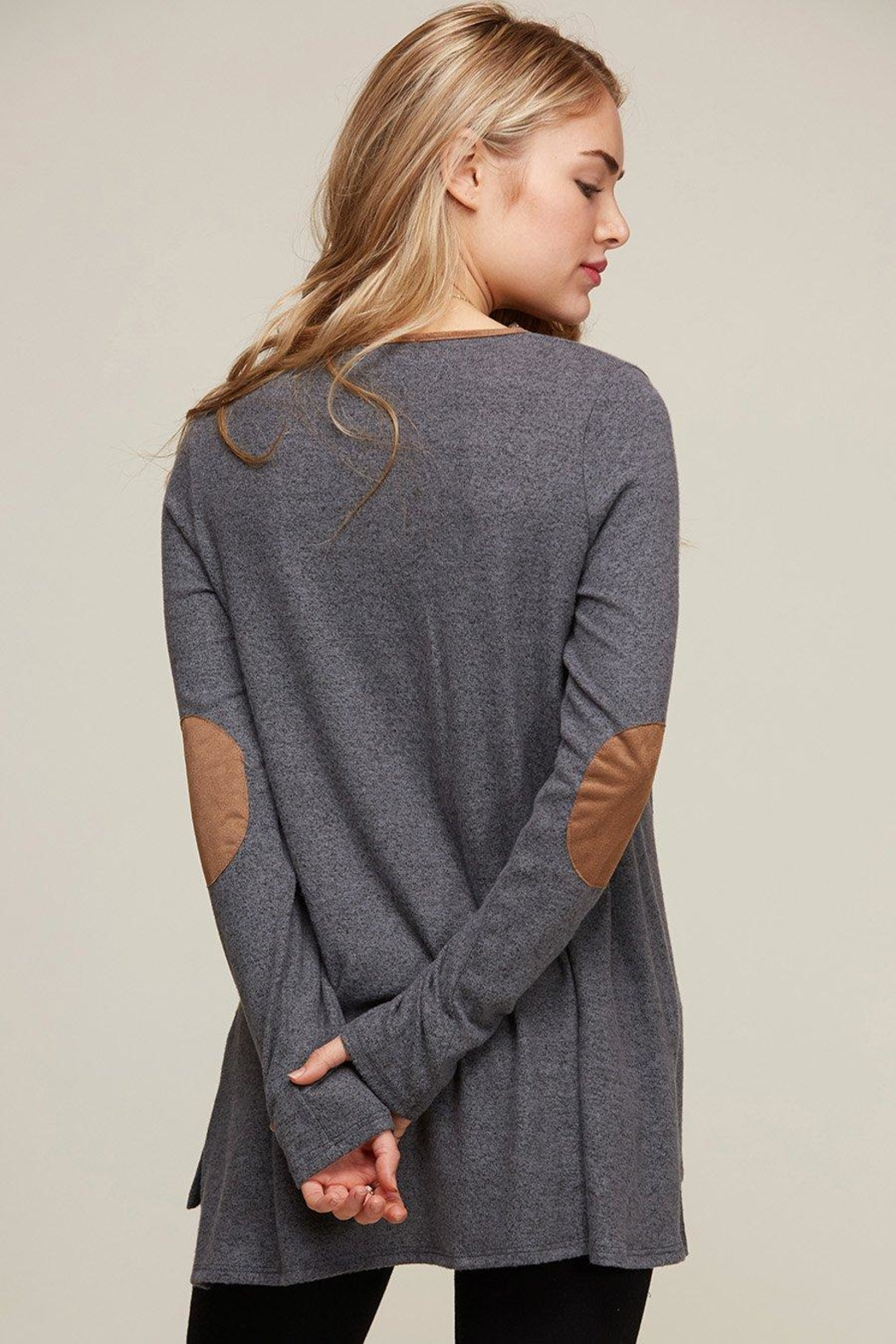 Peach Love California Elbow Patch Tunic - Front Full Image