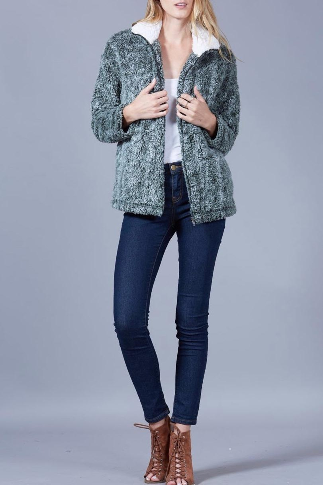 Peach Love California Faux Sherpa Jacket - Front Cropped Image