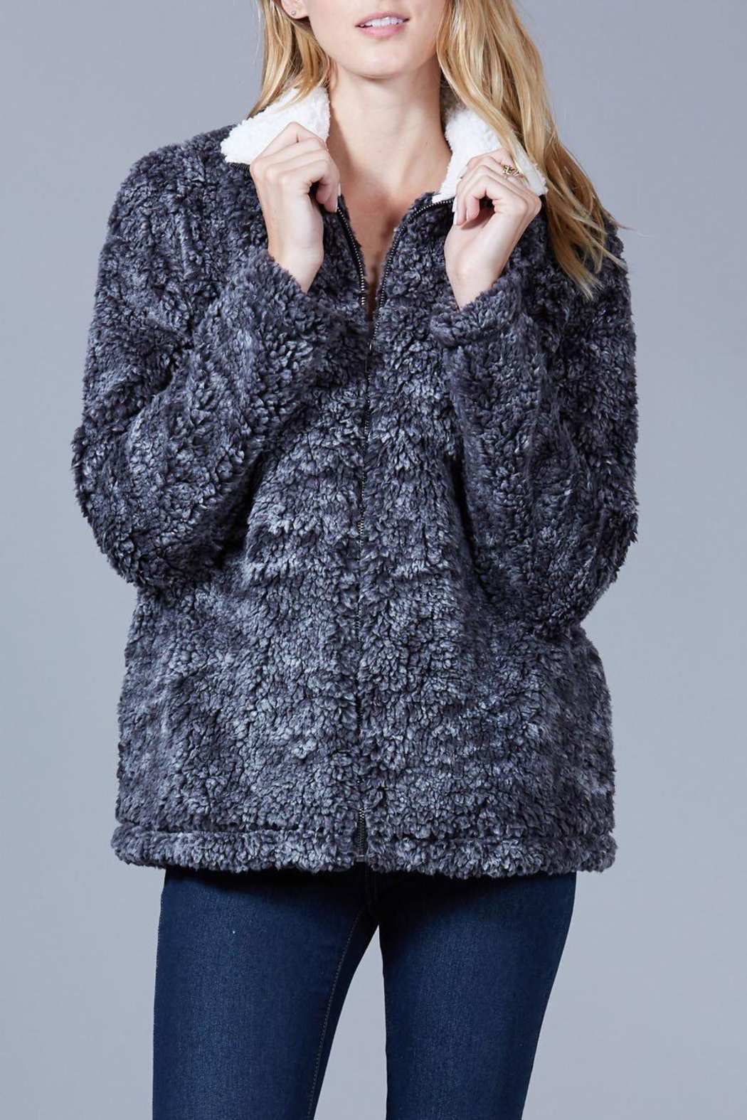 Peach Love California Faux Sherpa Jacket - Front Full Image