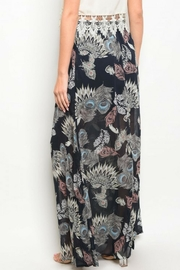Peach Love California Feather Print Skirt - Side cropped