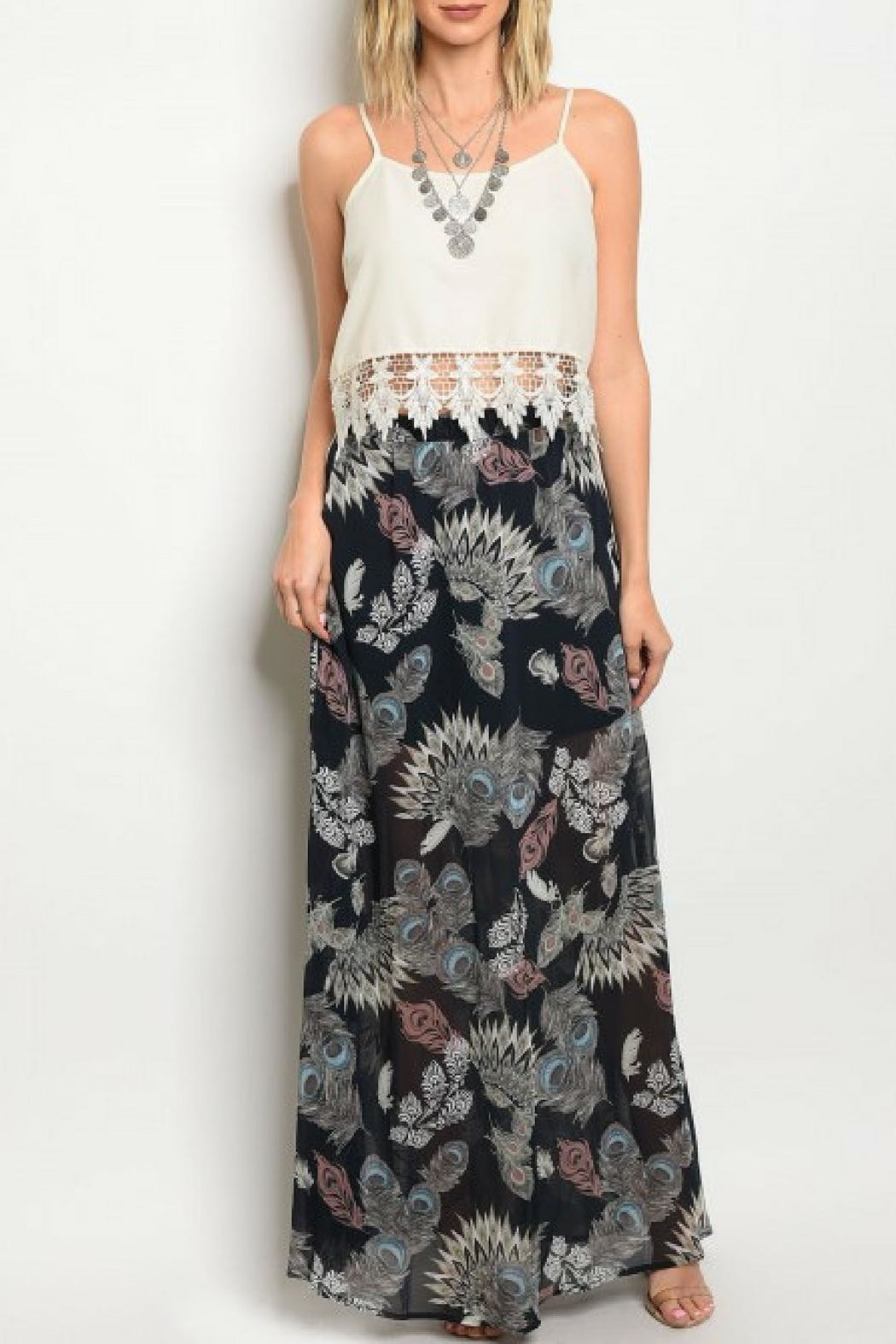 Peach Love California Feather Print Skirt - Front Cropped Image