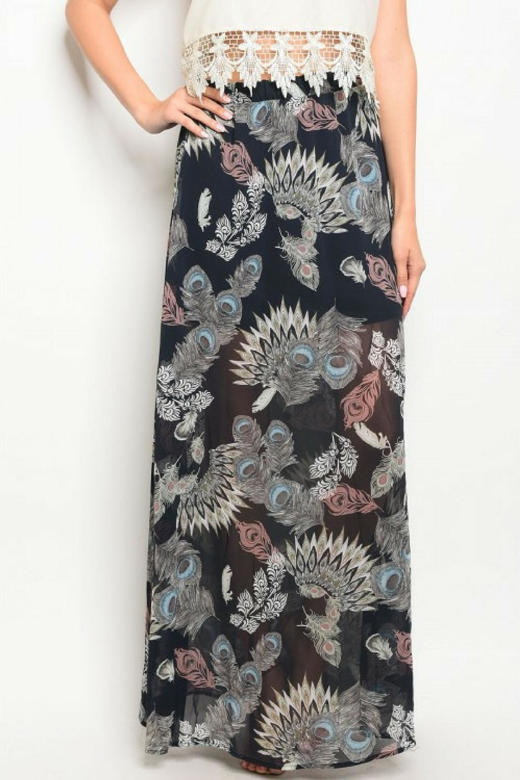 Peach Love California Feather Print Skirt - Front Full Image