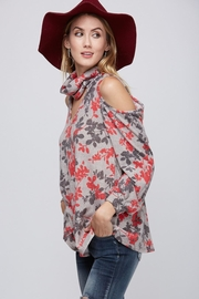 Peach Love California Floral Cold Shoulder - Front full body