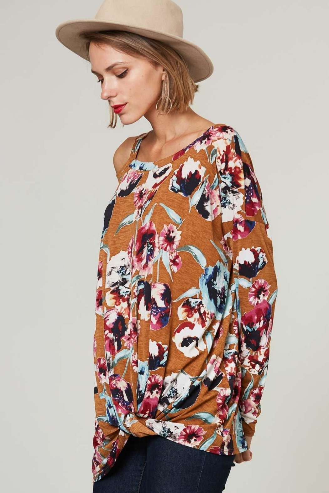 Peach Love California Floral Off-Shoulder Long-Sleeve - Side Cropped Image