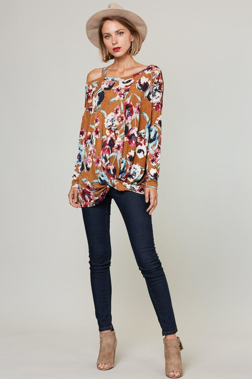 Peach Love California Floral Off-Shoulder Long-Sleeve - Front Full Image
