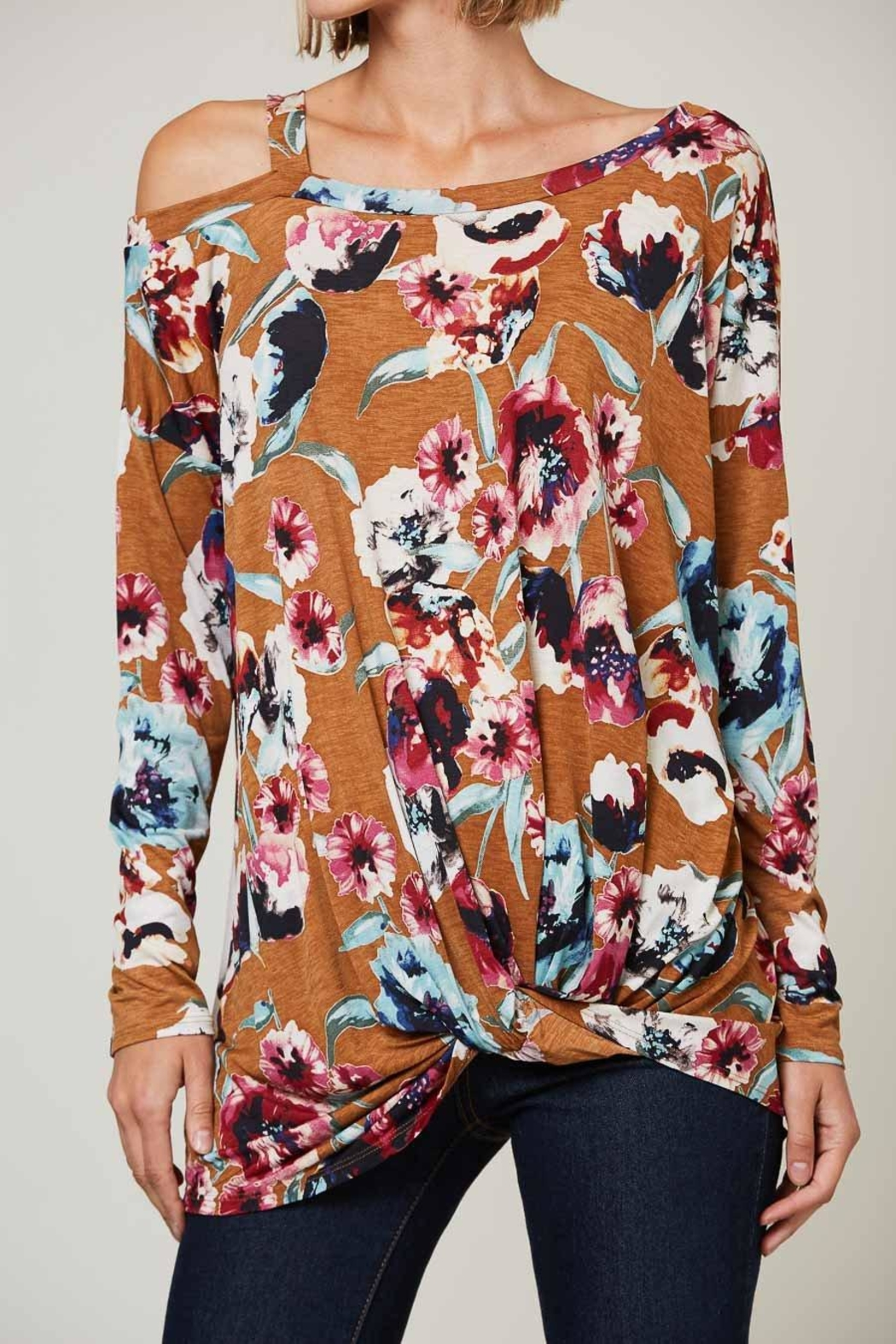 Peach Love California Floral Off-Shoulder Long-Sleeve - Main Image