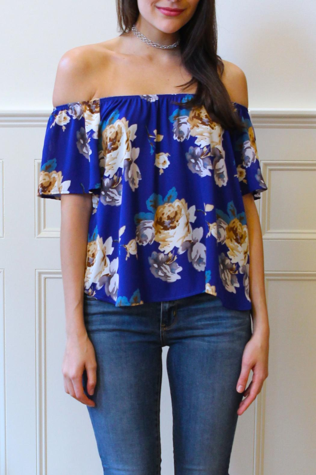 3237345396cdb Peach Love California Floral Off-Shoulder Top from Boston by Hello ...