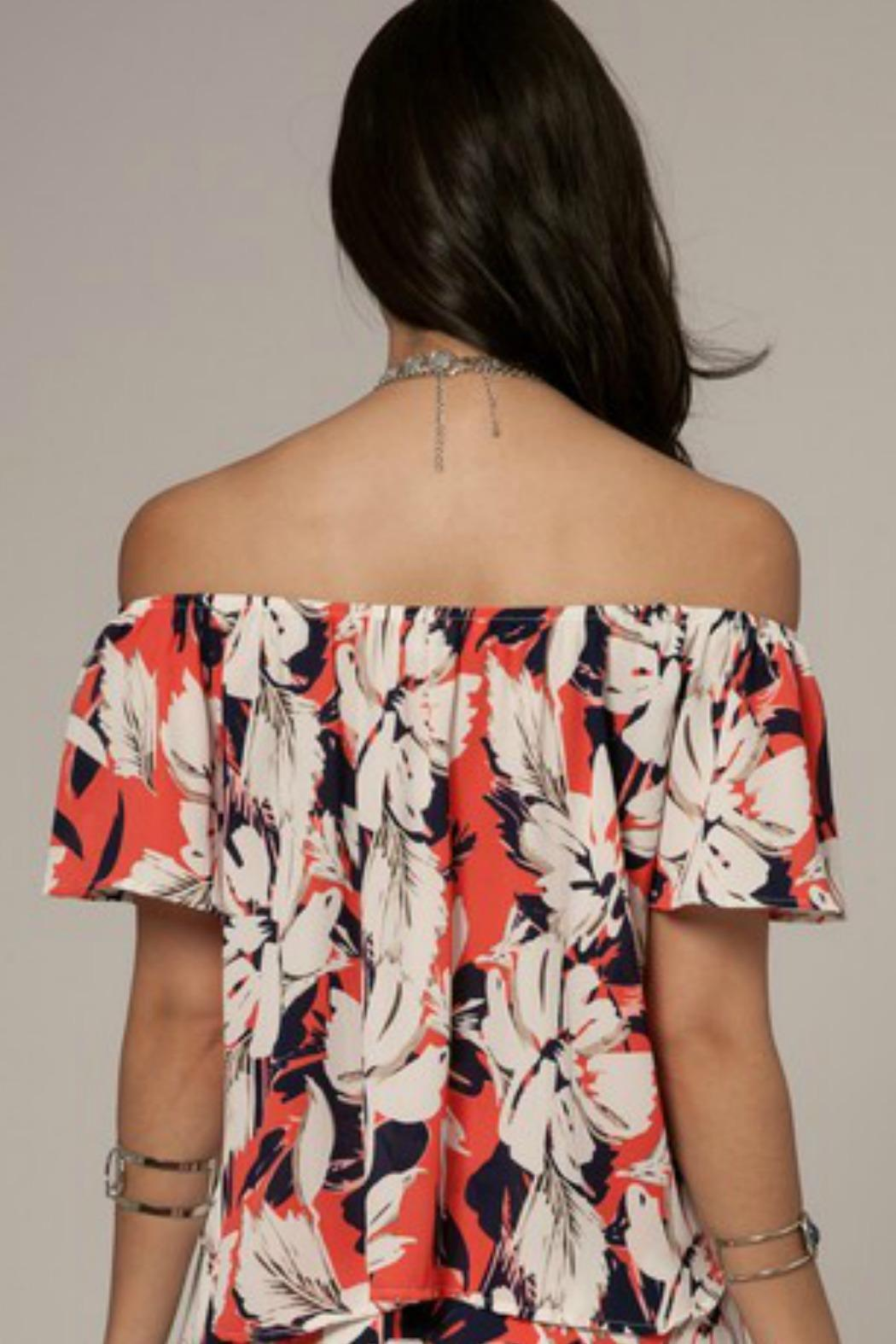 Peach Love California Floral Off-Shoulder Top - Front Full Image