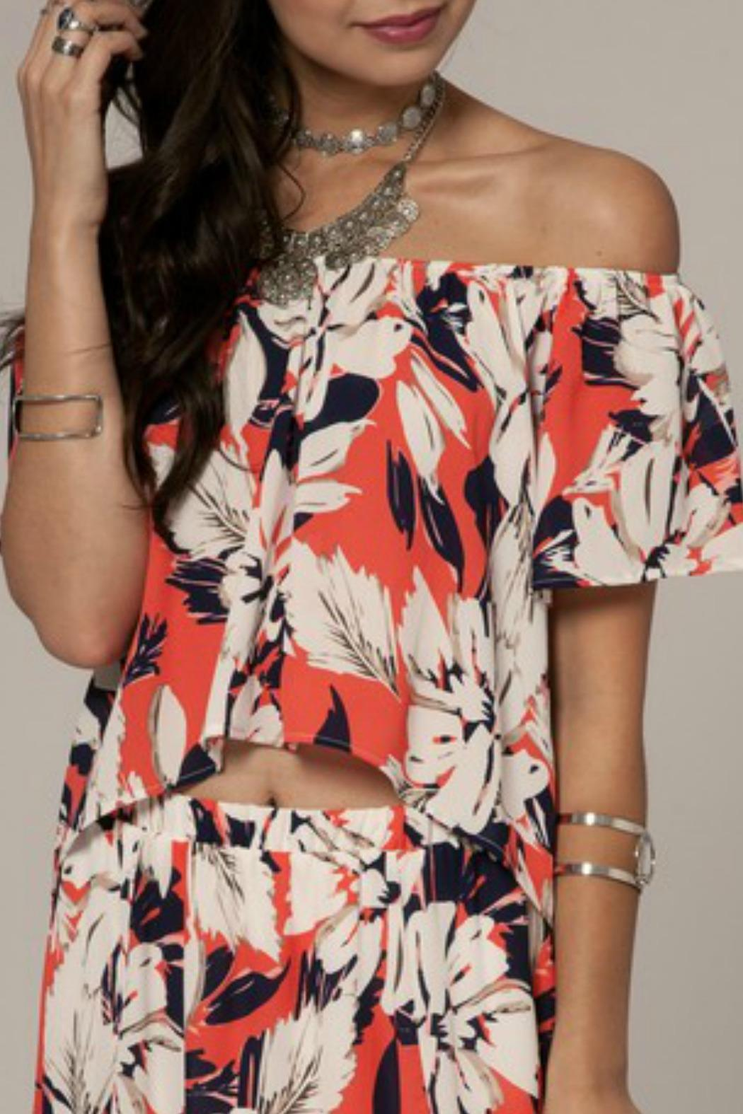 Peach Love California Floral Off-Shoulder Top - Main Image