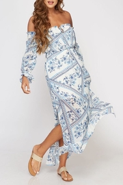 Peach Love California Floral Paisley Maxi - Front cropped