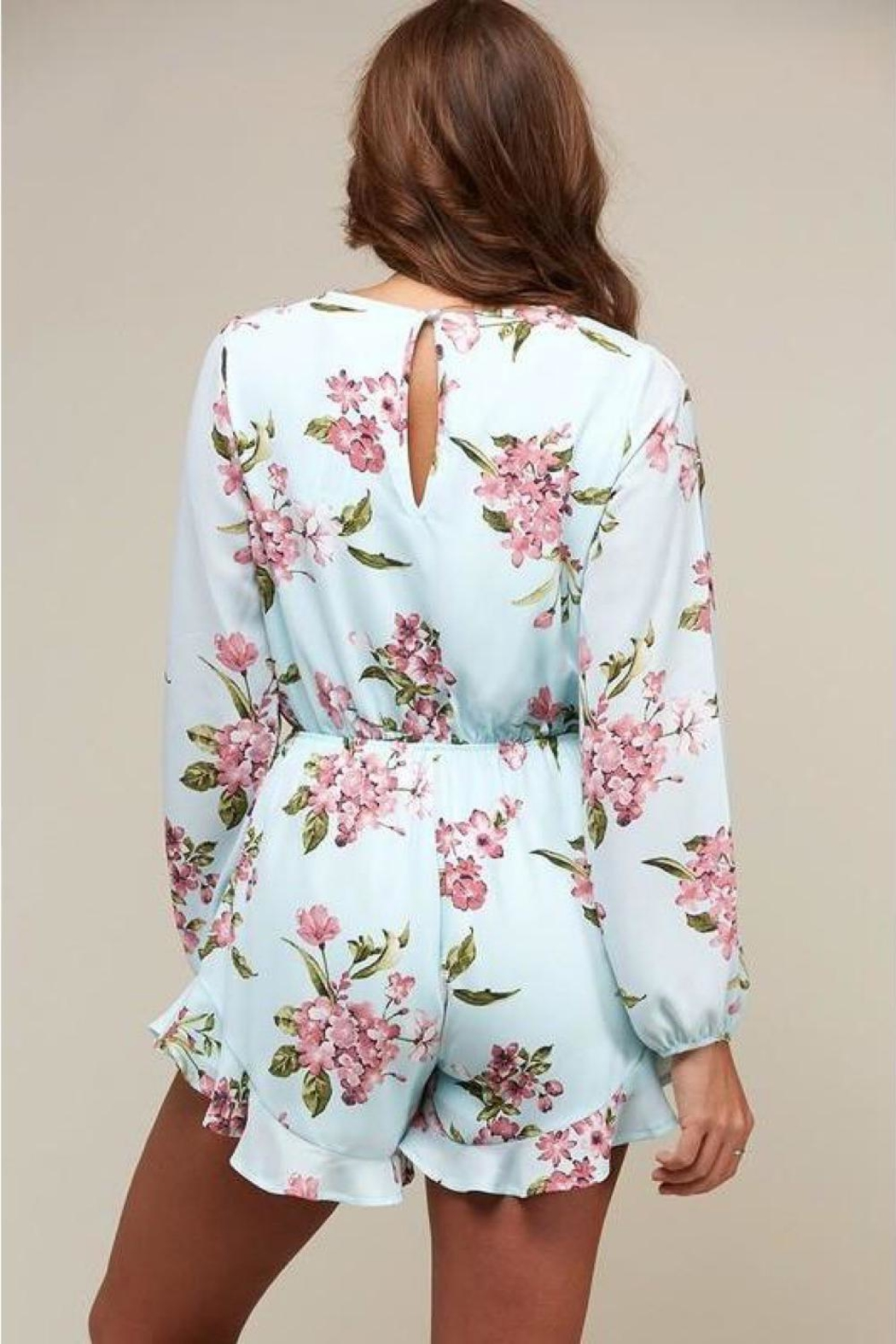Peach Love California Floral Romper - Front Full Image