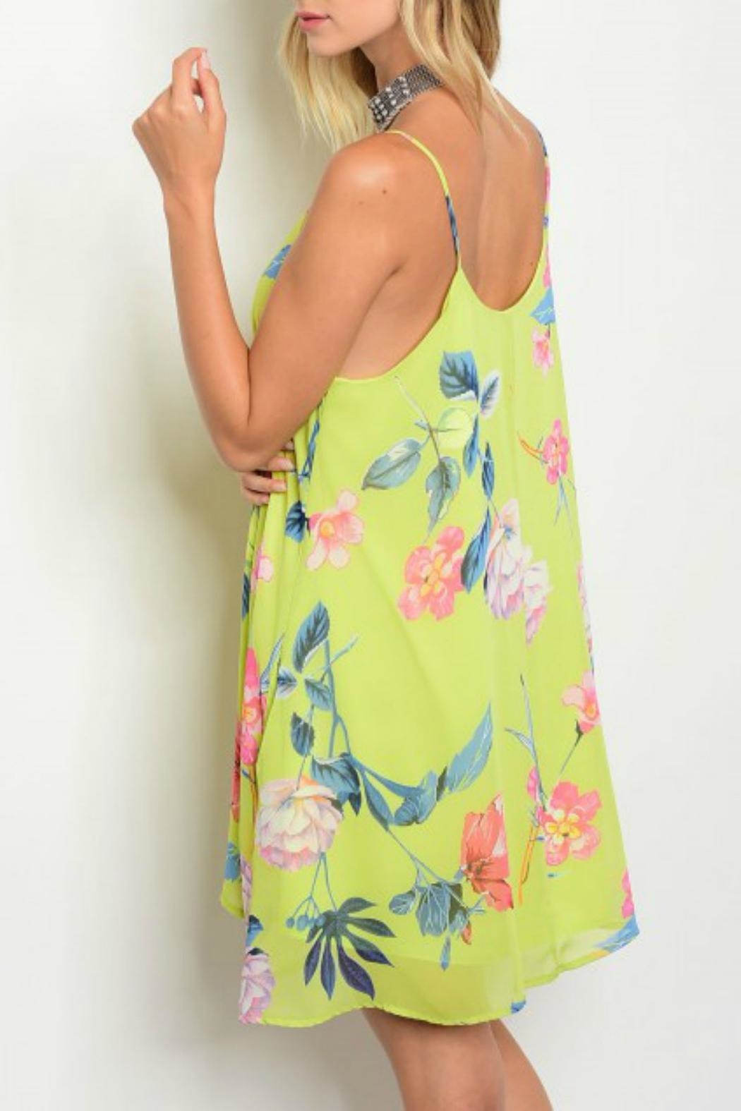 Peach Love California Floral Swing Dress - Front Full Image
