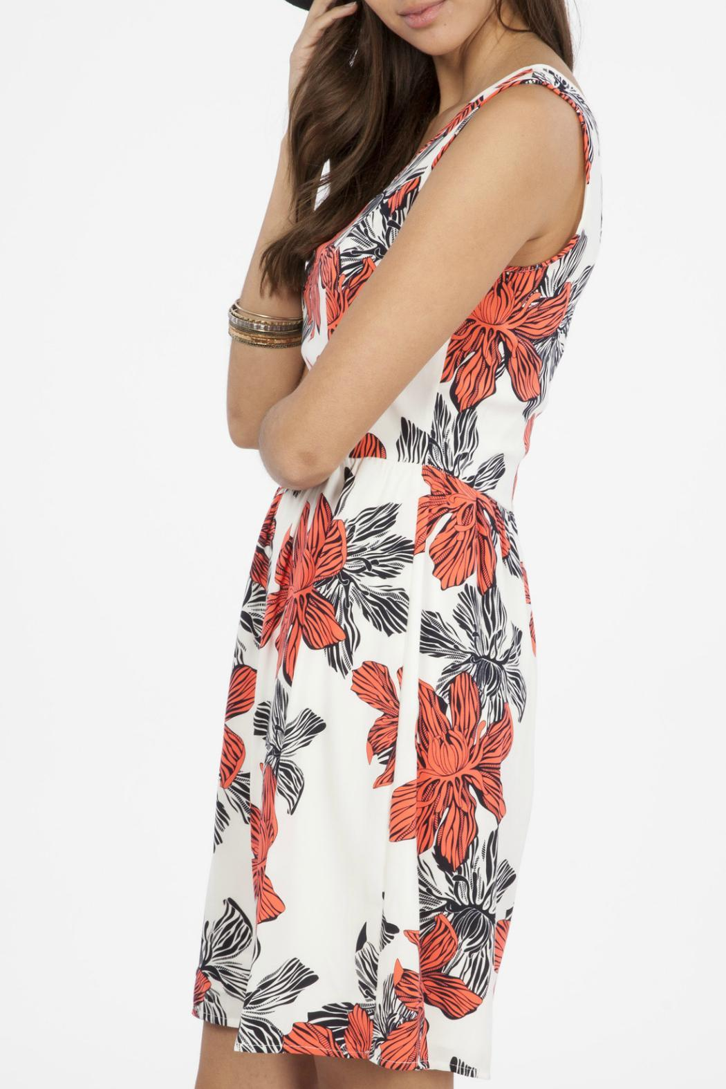Peach Love California Floral Tank Dress - Back Cropped Image