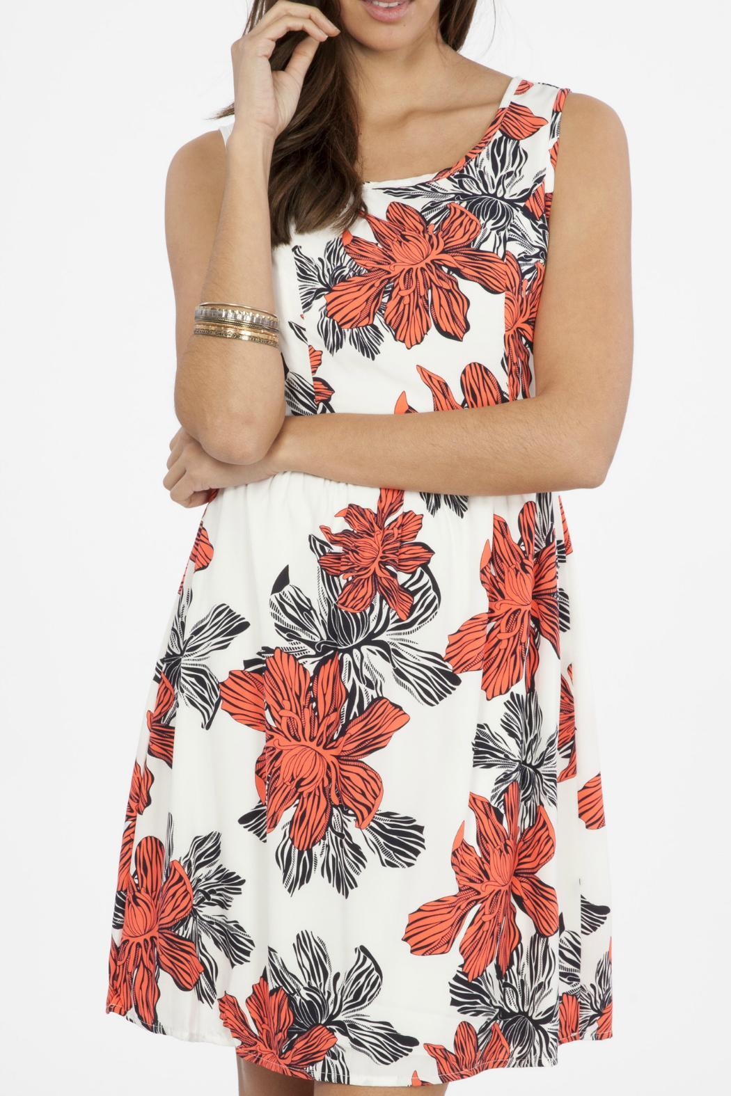 Peach Love California Floral Tank Dress - Side Cropped Image