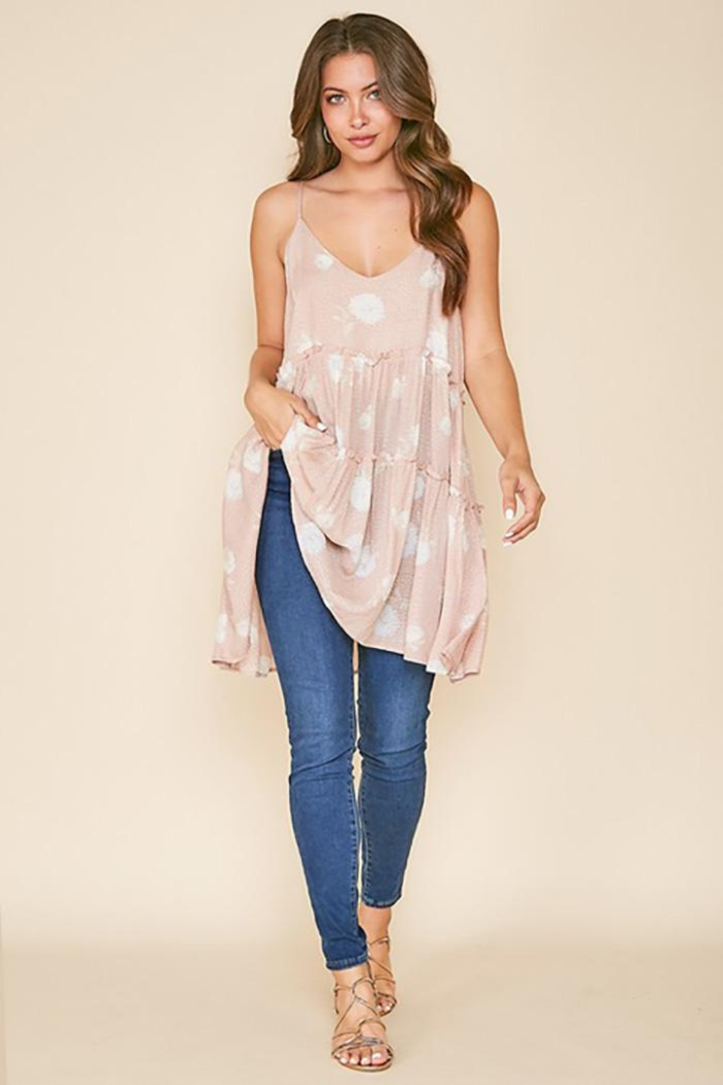 Peach Love California Flower Print Tunic Top - Back Cropped Image