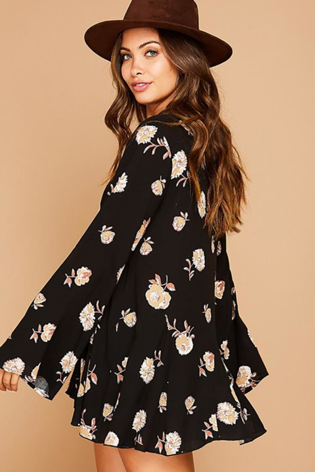 Peach Love California Flower Printed Bell Sleeve Tunic Top - Front Full Image