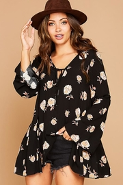 Peach Love California Flower Printed Bell Sleeve Tunic Top - Product Mini Image
