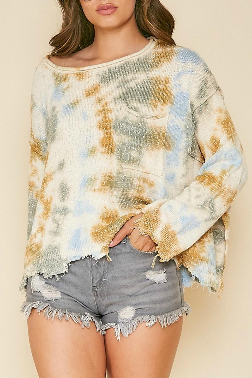 Peach Love California Frayed Tie-Dye Sweater - Front Full Image