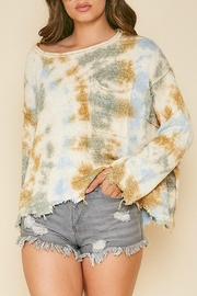 Peach Love California Frayed Tie-Dye Sweater - Front full body