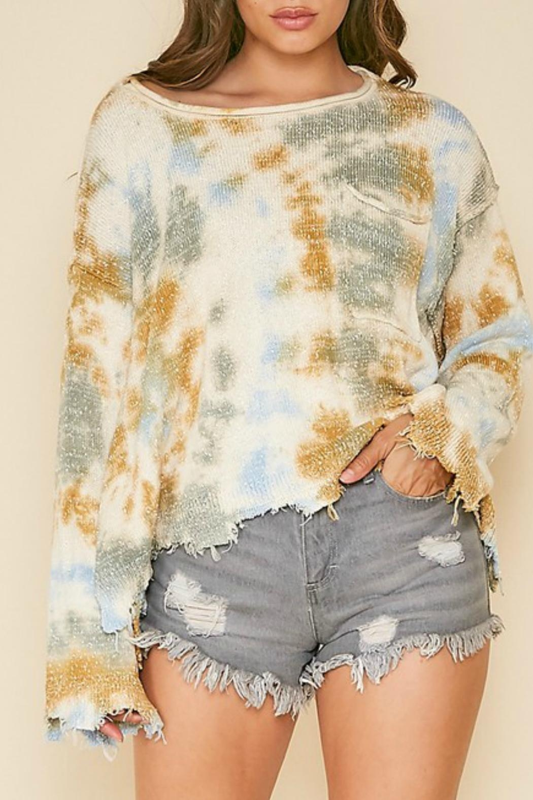 Peach Love California Frayed Tie-Dye Sweater - Side Cropped Image