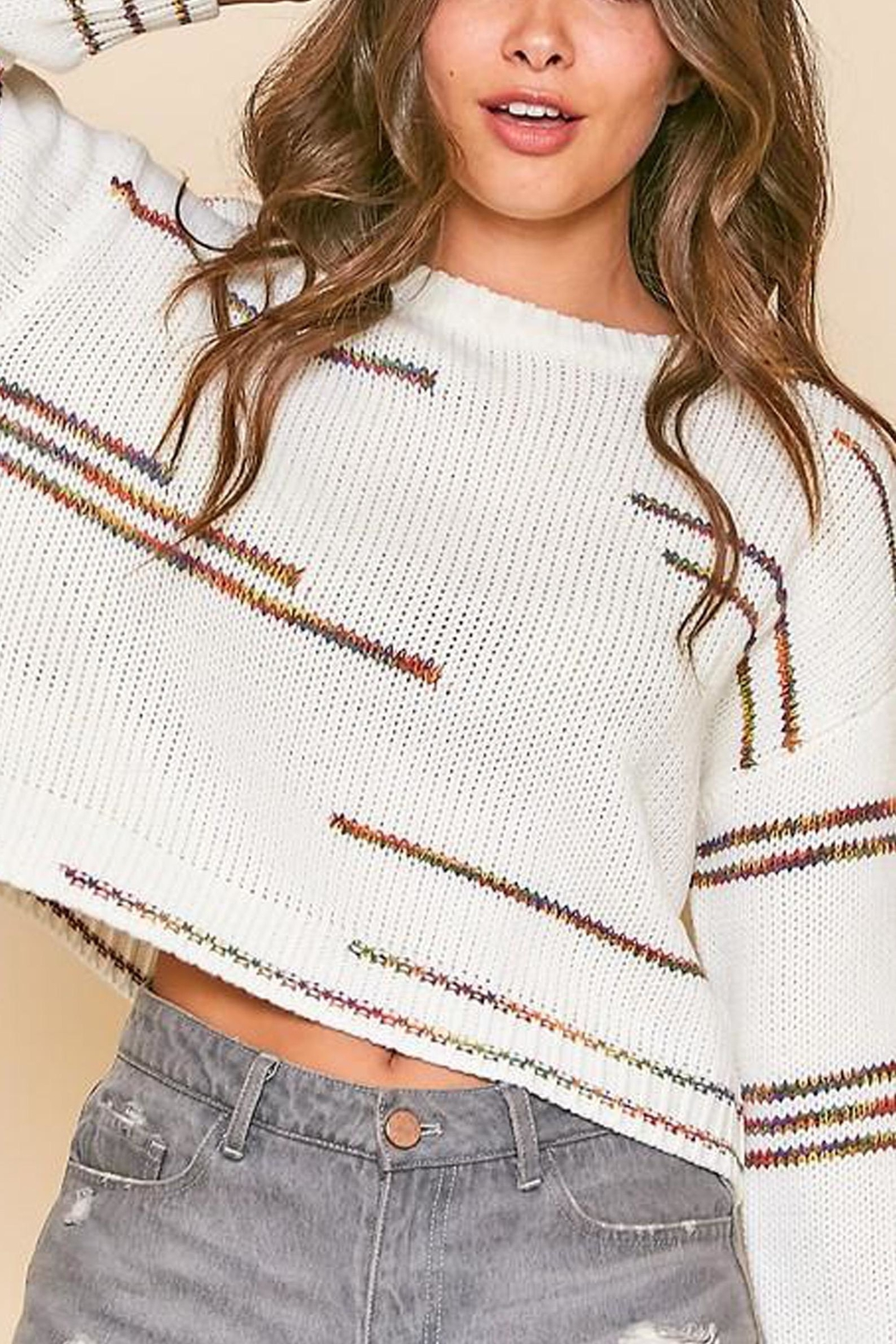 Peach Love California Graphic-Line Cropped Knit-Sweater - Main Image