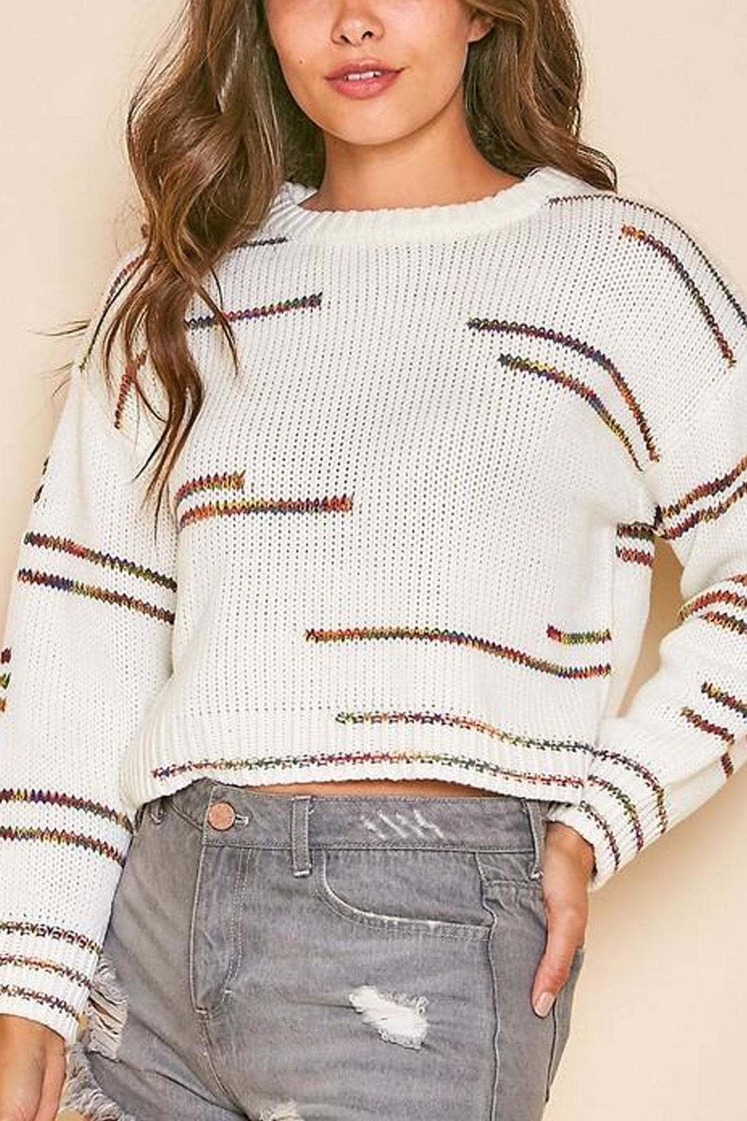 Peach Love California Graphic-Line Cropped Knit-Sweater - Back Cropped Image