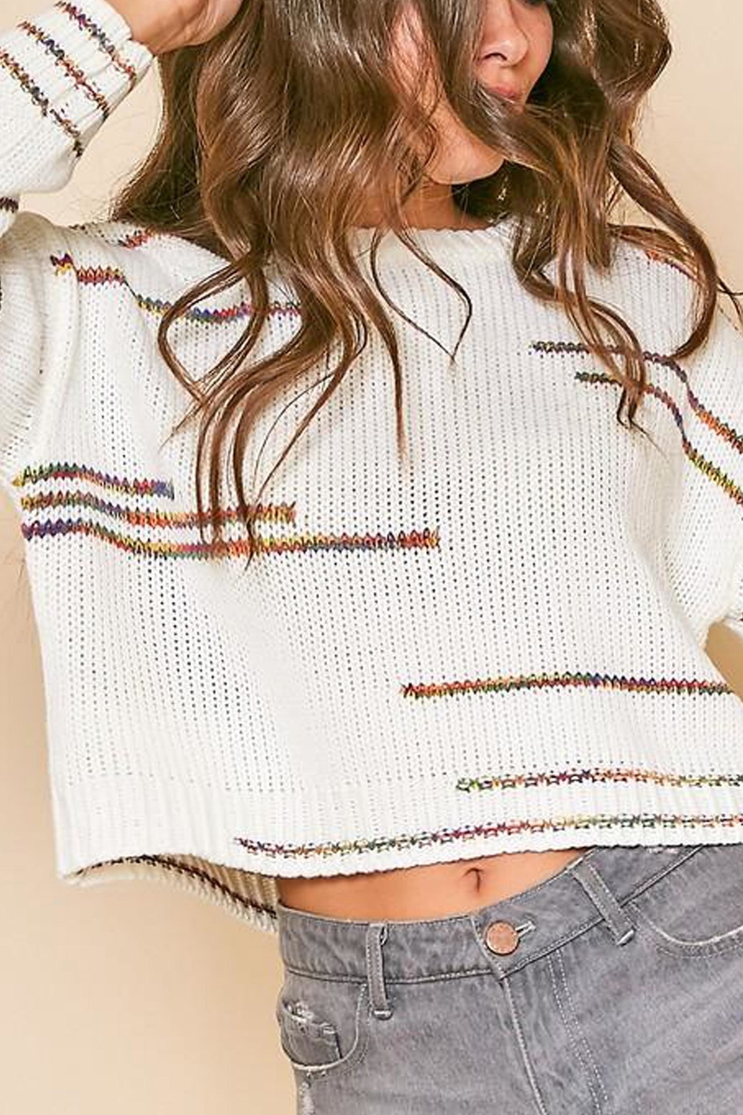 Peach Love California Graphic-Line Cropped Knit-Sweater - Front Full Image
