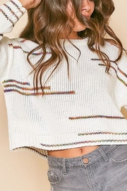 Peach Love California Graphic-Line Cropped Knit-Sweater - Front full body