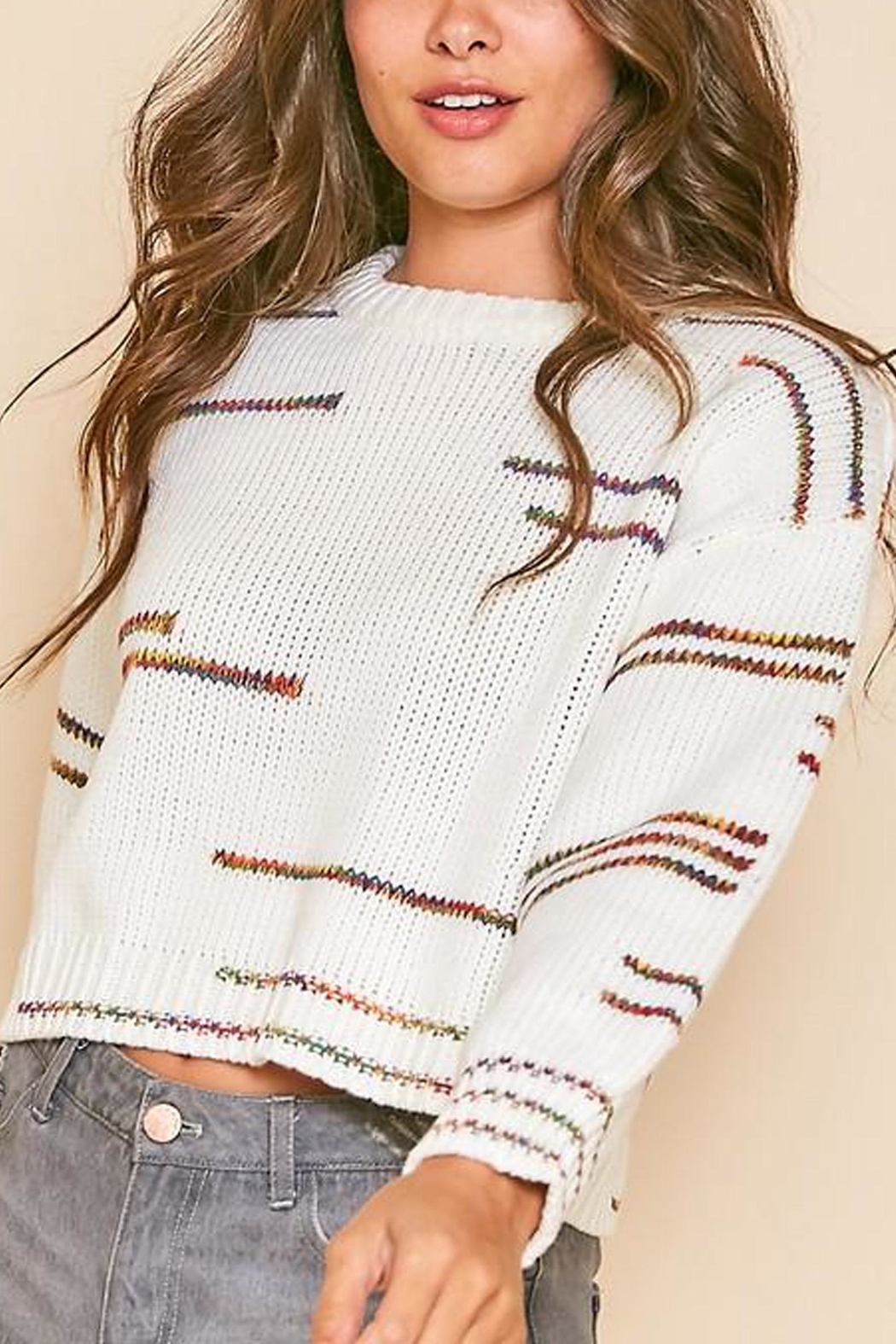 Peach Love California Graphic-Line Cropped Knit-Sweater - Side Cropped Image