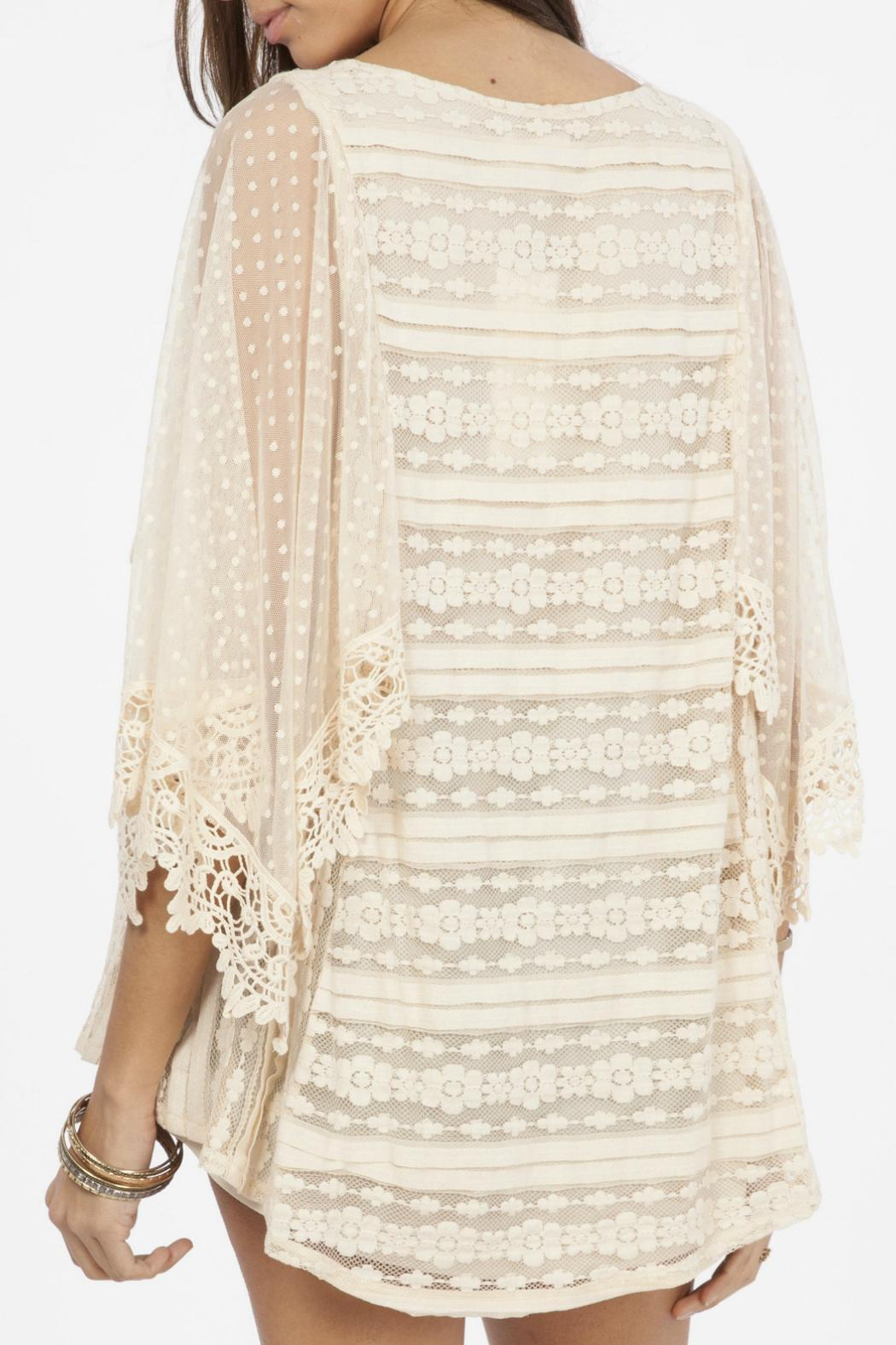 Peach Love California Lace Flowy Top - Front Full Image