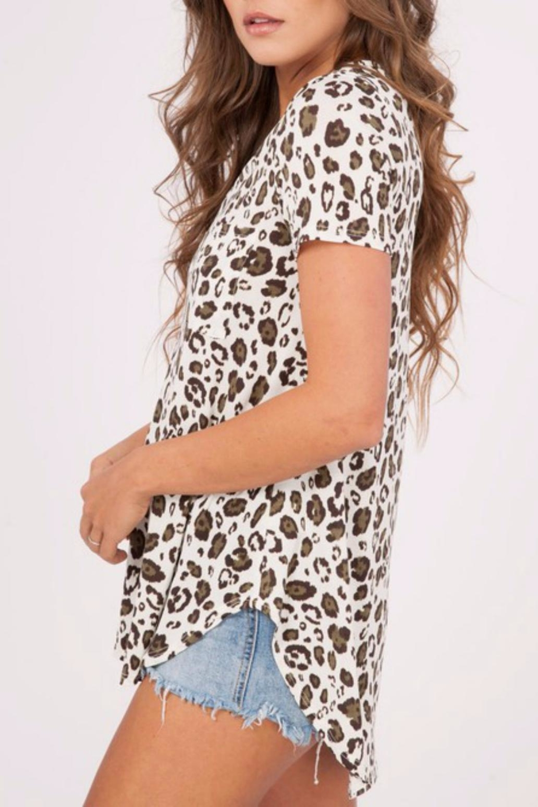 Peach Love California Leopard Print Top - Front Full Image