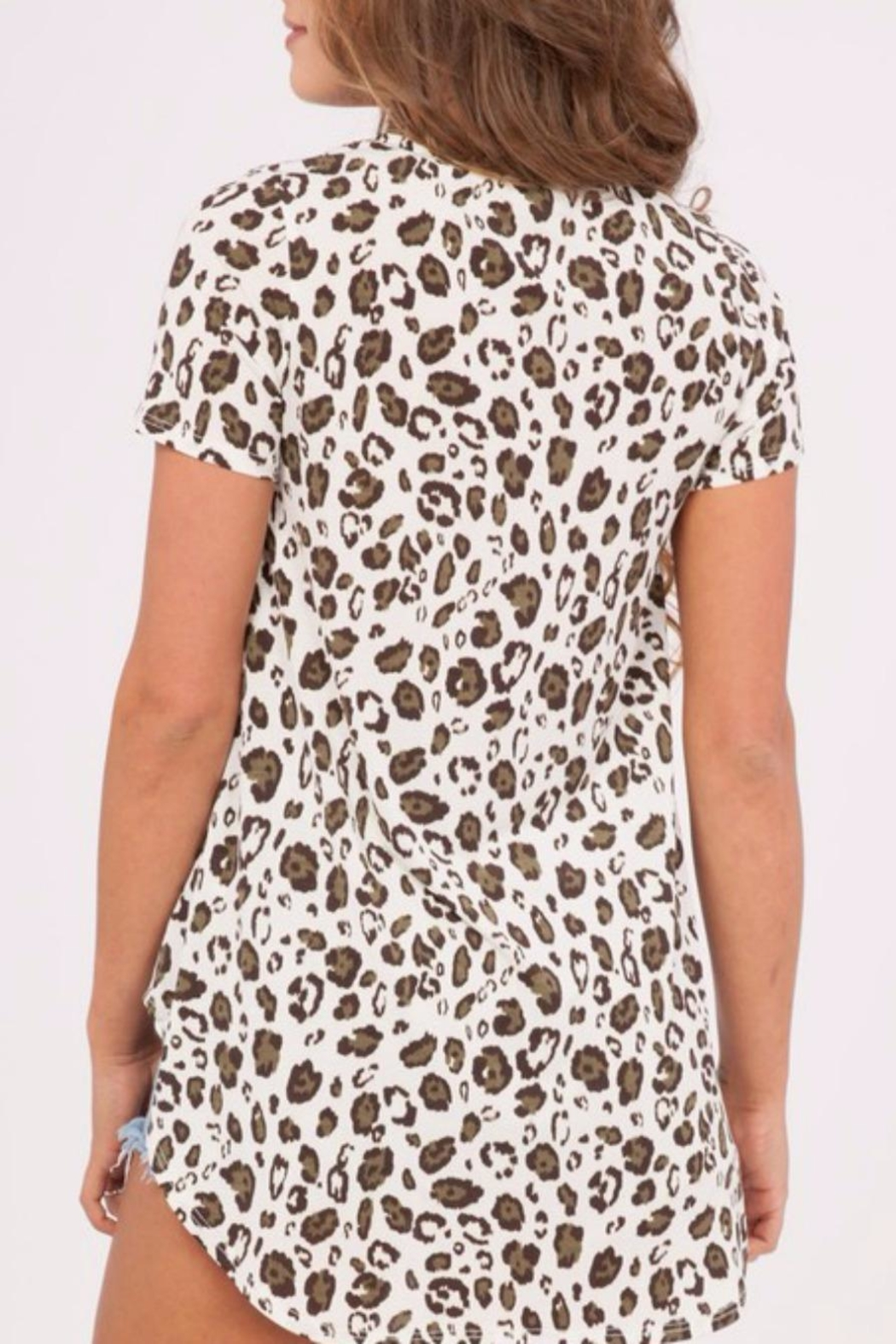 Peach Love California Leopard Print Top - Side Cropped Image