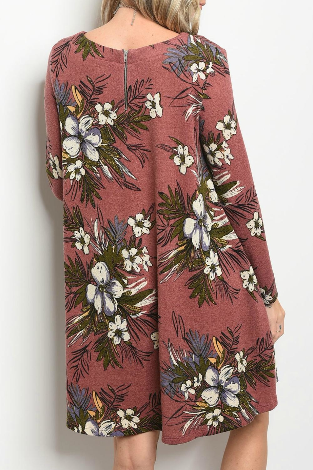 Peach Love California Mauve Floral Dress - Front Full Image