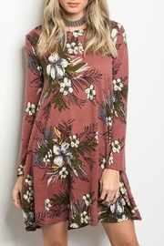 Peach Love California Mauve Floral Dress - Front cropped