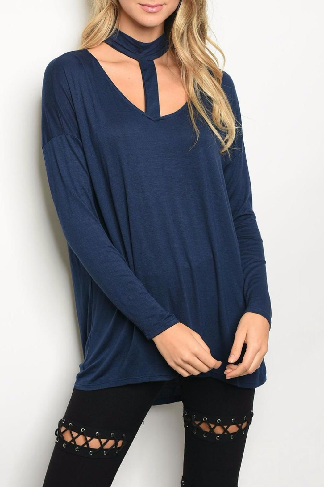 Peach Love California Navy Chocker Top - Main Image