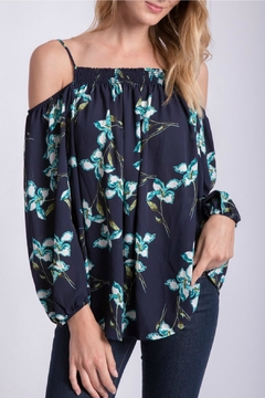 Peach Love California Navy Floral Top - Product List Image