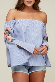 Peach Love California Off-Shoulder Embroidered Stripe - Front cropped
