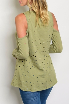 Peach Love California Green Distressed Long Top - Alternate List Image