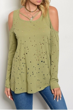Peach Love California Green Distressed Long Top - Product List Image
