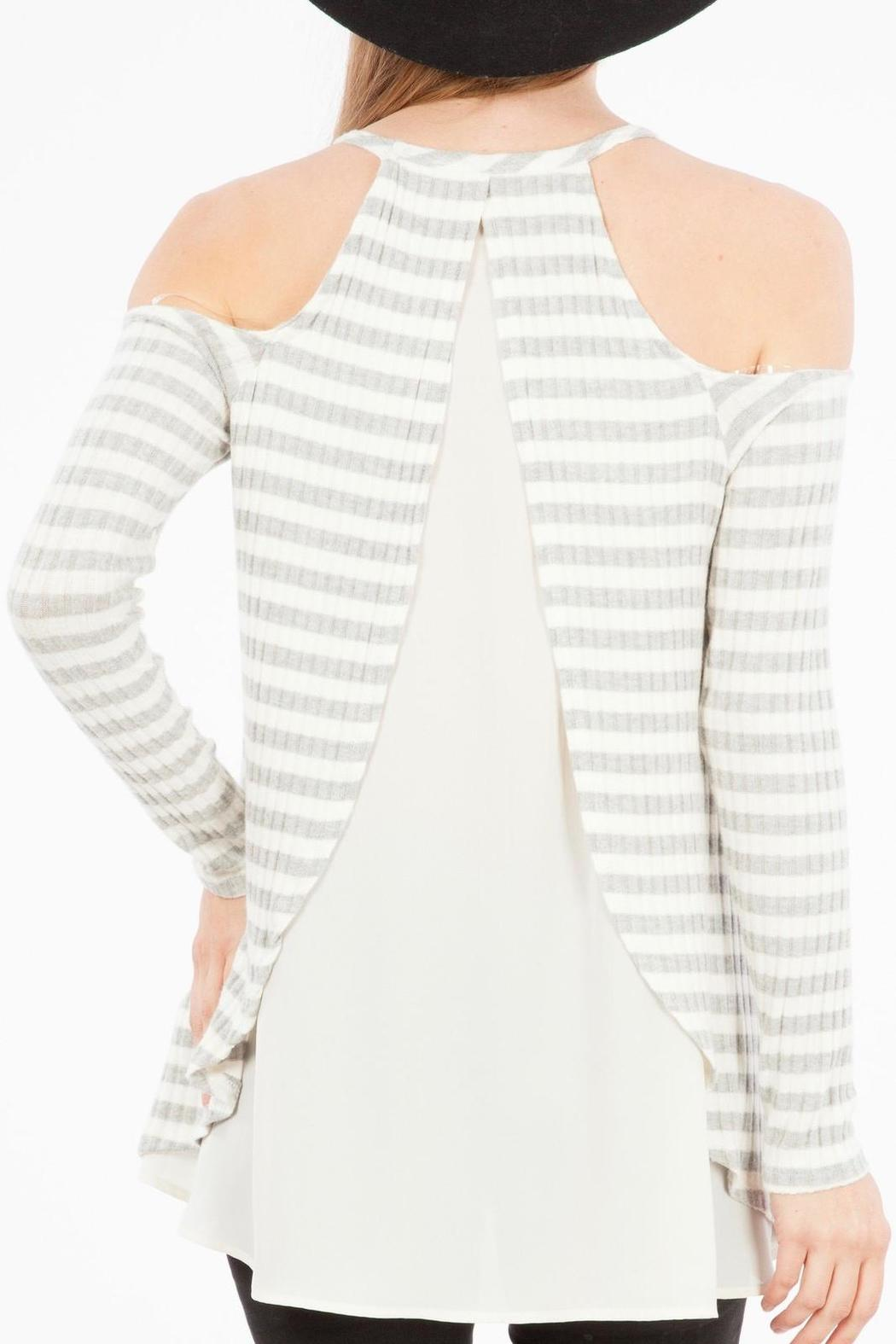 Peach Love California Open Shoulder Top - Back Cropped Image