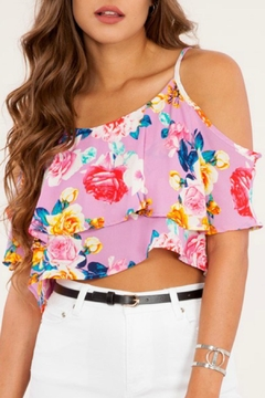 Peach Love California Pink Floral Crop Top - Product List Image