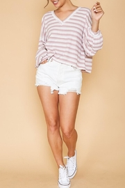 Peach Love California Puff-Sleeve Stripe Knit - Front cropped