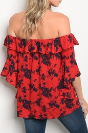 Peach Love California Red Shoulder Blouse - Front full body
