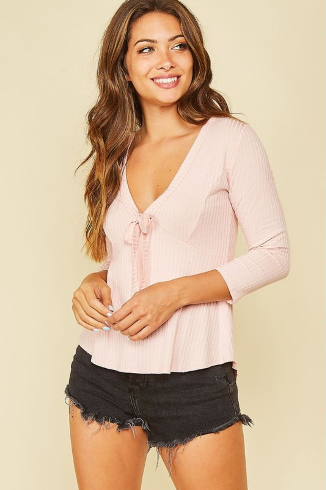 Peach Love California Ribbon-Tie Front Top - Front Full Image