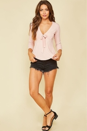 Peach Love California Ribbon-Tie Front Top - Side cropped
