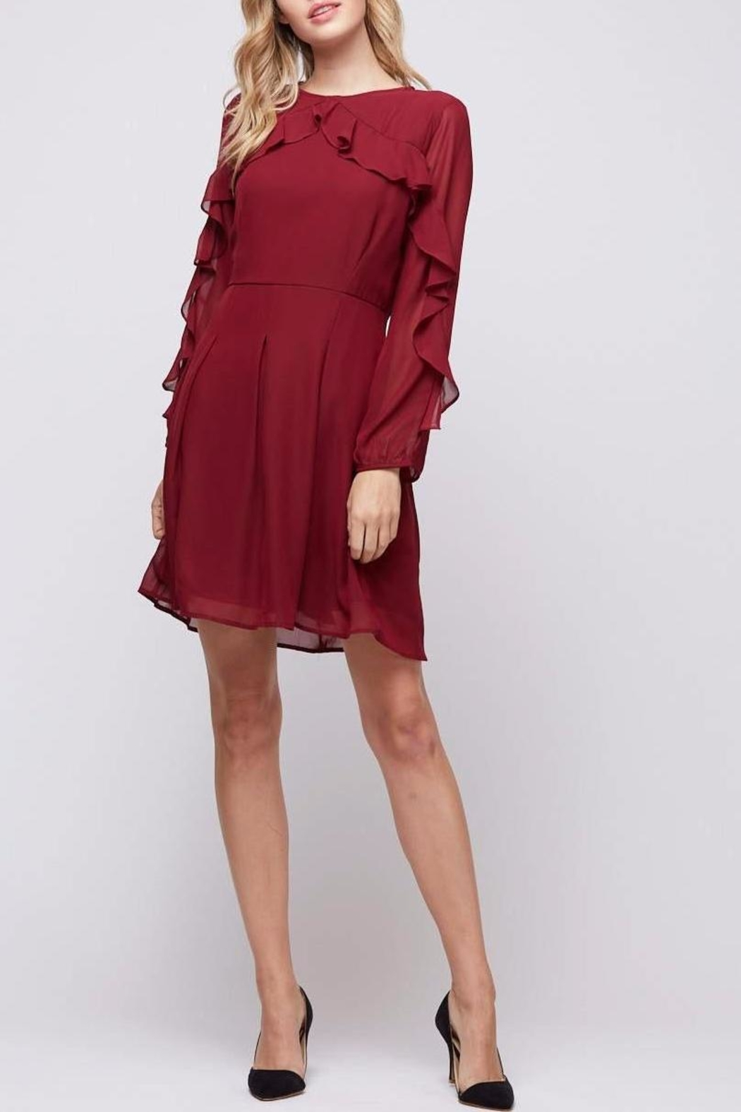 Peach Love California Ruffle Sleeve Dress - Main Image