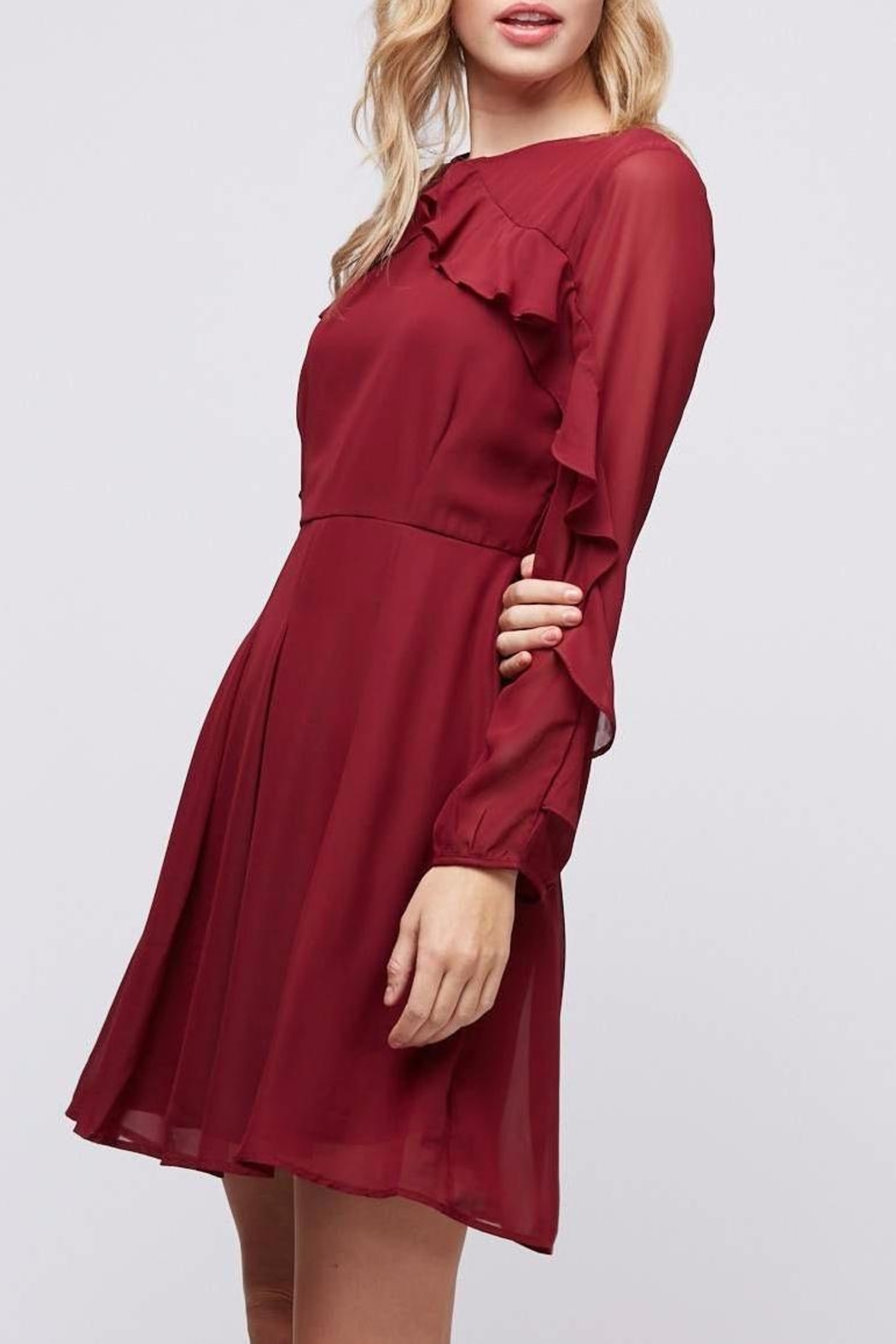 Peach Love California Ruffle Sleeve Dress - Side Cropped Image