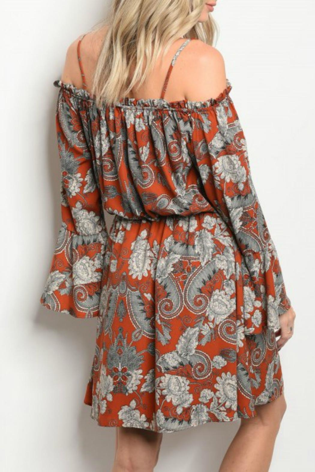 Peach Love California Rust Off-The-Shoulder Dress - Front Full Image